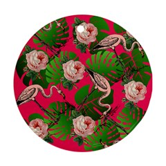 Flamingo Floral Pink Round Ornament (two Sides) by snowwhitegirl
