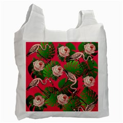 Flamingo Floral Pink Recycle Bag (one Side) by snowwhitegirl