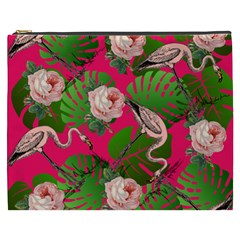 Flamingo Floral Pink Cosmetic Bag (xxxl)
