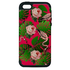 Flamingo Floral Pink Apple Iphone 5 Hardshell Case (pc+silicone) by snowwhitegirl