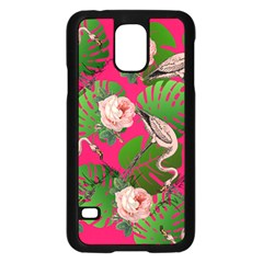Flamingo Floral Pink Samsung Galaxy S5 Case (black) by snowwhitegirl