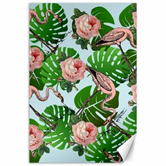 Flamingo Floral Blue Canvas 24  X 36  by snowwhitegirl