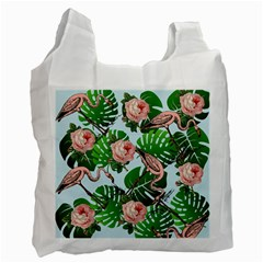 Flamingo Floral Blue Recycle Bag (one Side) by snowwhitegirl