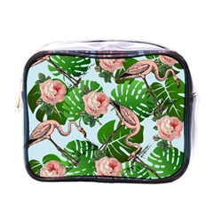 Flamingo Floral Blue Mini Toiletries Bag (one Side) by snowwhitegirl