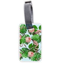 Flamingo Floral Blue Luggage Tags (one Side)  by snowwhitegirl