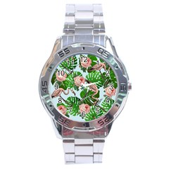 Flamingo Floral Blue Stainless Steel Analogue Watch by snowwhitegirl
