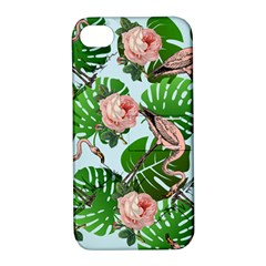 Flamingo Floral Blue Apple Iphone 4/4s Hardshell Case With Stand by snowwhitegirl