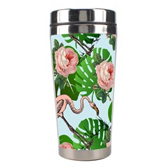 Flamingo Floral Blue Stainless Steel Travel Tumblers by snowwhitegirl