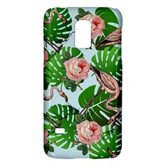 Flamingo Floral Blue Samsung Galaxy S5 Mini Hardshell Case  by snowwhitegirl