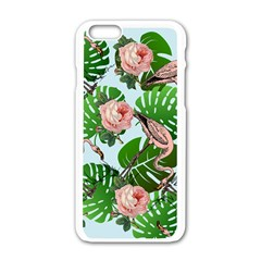 Flamingo Floral Blue Apple Iphone 6/6s White Enamel Case by snowwhitegirl