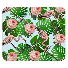 Flamingo Floral Blue Double Sided Flano Blanket (small)  by snowwhitegirl