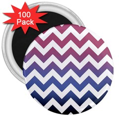 Pink Blue Black Ombre Chevron 3  Magnets (100 Pack)
