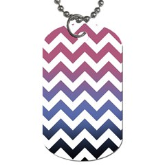 Pink Blue Black Ombre Chevron Dog Tag (two Sides) by snowwhitegirl
