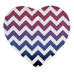 Pink Blue Black Ombre Chevron Heart Ornament (two Sides) by snowwhitegirl