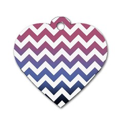 Pink Blue Black Ombre Chevron Dog Tag Heart (one Side) by snowwhitegirl