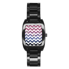 Pink Blue Black Ombre Chevron Stainless Steel Barrel Watch by snowwhitegirl