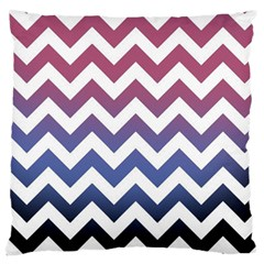 Pink Blue Black Ombre Chevron Large Flano Cushion Case (two Sides)