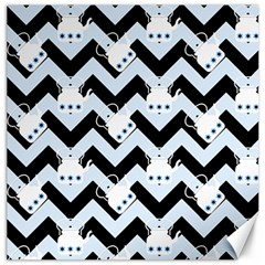 Blue Teapot Chevron Canvas 12  X 12   by snowwhitegirl