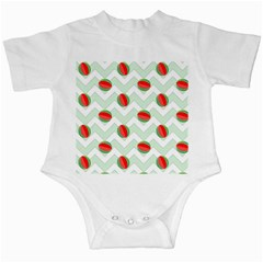 Watermelon Chevron Green Infant Creepers by snowwhitegirl