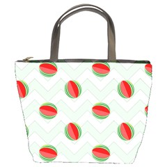 Watermelon Chevron Green Bucket Bag by snowwhitegirl