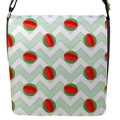 Watermelon Chevron Green Flap Closure Messenger Bag (s) by snowwhitegirl
