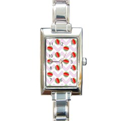 Watermelon Chevron Rectangle Italian Charm Watch by snowwhitegirl