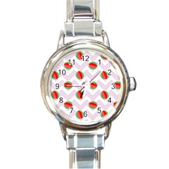 Watermelon Chevron Round Italian Charm Watch