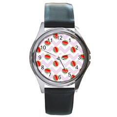 Watermelon Chevron Round Metal Watch