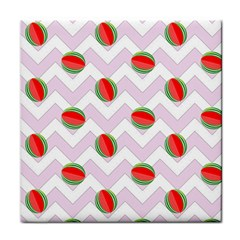 Watermelon Chevron Tile Coasters by snowwhitegirl