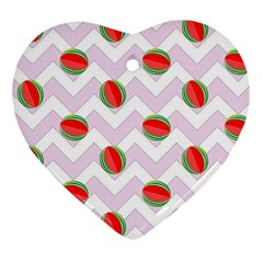 Watermelon Chevron Ornament (Heart)