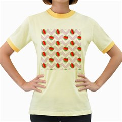 Watermelon Chevron Women s Fitted Ringer T-Shirt