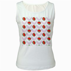 Watermelon Chevron Women s White Tank Top