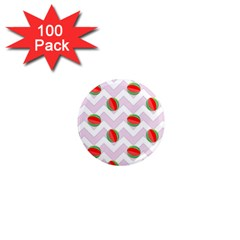 Watermelon Chevron 1  Mini Magnets (100 pack)