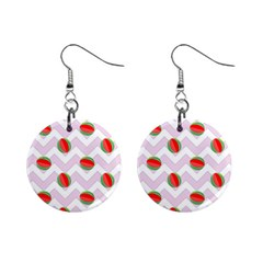 Watermelon Chevron Mini Button Earrings