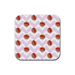 Watermelon Chevron Rubber Square Coaster (4 pack)