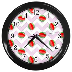 Watermelon Chevron Wall Clock (Black)