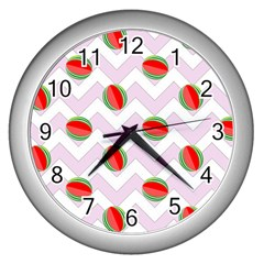 Watermelon Chevron Wall Clock (Silver)