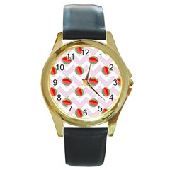Watermelon Chevron Round Gold Metal Watch