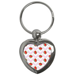 Watermelon Chevron Key Chains (heart)  by snowwhitegirl