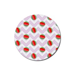 Watermelon Chevron Rubber Coaster (Round)