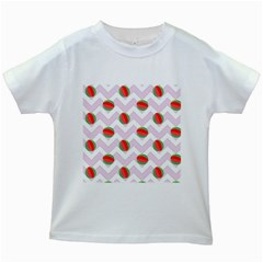 Watermelon Chevron Kids White T-Shirts