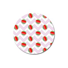 Watermelon Chevron Magnet 3  (Round)
