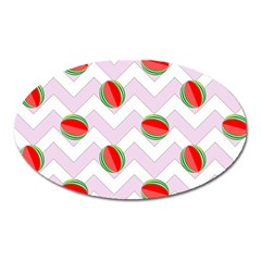 Watermelon Chevron Oval Magnet