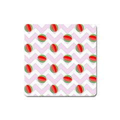 Watermelon Chevron Square Magnet by snowwhitegirl