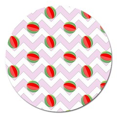 Watermelon Chevron Magnet 5  (Round)