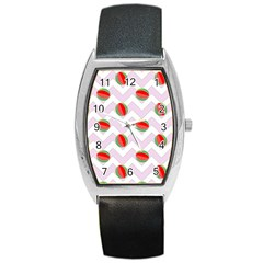 Watermelon Chevron Barrel Style Metal Watch by snowwhitegirl