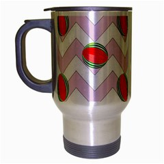 Watermelon Chevron Travel Mug (Silver Gray)