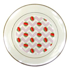 Watermelon Chevron Porcelain Plates