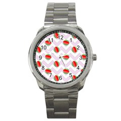 Watermelon Chevron Sport Metal Watch