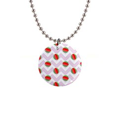 Watermelon Chevron Button Necklaces